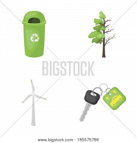 A garbage can, a diseased tree, a wind turbine, a key to a bio car.Bio and ecology set collection icons in cartoon style vector symbol stock illustration .