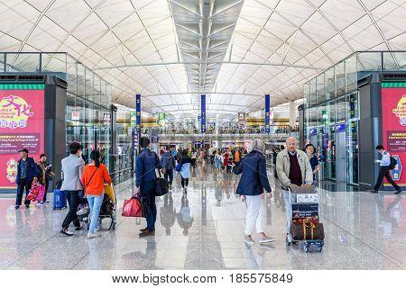 Hong Kong international airport, Hong Kong, September 2016 -: Crowded of people Hong Kong airport waiting hall