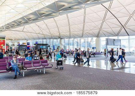 Hong Kong international airport, Hong Kong, September 2016 -: Waiting hall in Hong Kong international airport