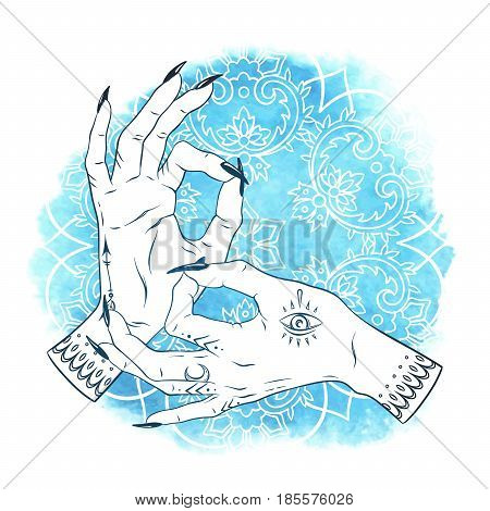Hand Drawn Elegant Female Hands With Boho Tattoos Over Blue Watercolor Background With Ornate Mandal