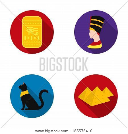 Eye of Horus, black Egyptian cat, pyramids, head of Nefertiti.Ancient Egypt set collection icons in flat style vector symbol stock illustration .