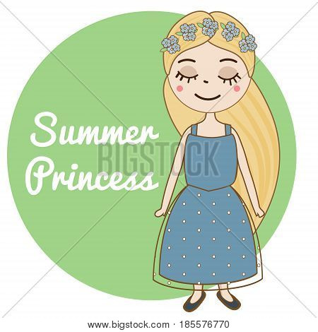 Hand drawn girl with long blonde hair and forget-me-not flowers wreath. Beautiful kid in blue summer dress. Cute female princess character. Vector illustration