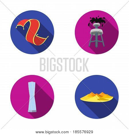 Persian carpet, dunes in the desert, Shanghai Tower, oil well.Arab emirates set collection icons in flat style vector symbol stock illustration .