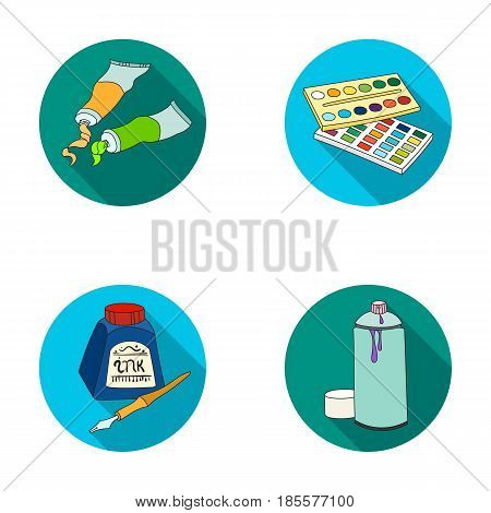 Balonchik paints, tubes with paint, watercolor in a box, ink in a bottle and a pen.Artist and drawing set collection icons in flat style vector symbol stock illustration .