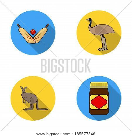 A game of cricket, an emu ostrich, a kangaroo, a popular food.Australia set collection icons in flat style vector symbol stock illustration .
