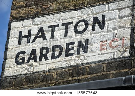 Hatton Garden street sign on London street corner
