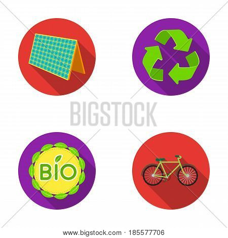 Bio label, eco bike, solar panel, recycling sign.Bio and ecology set collection icons in flat style vector symbol stock illustration .