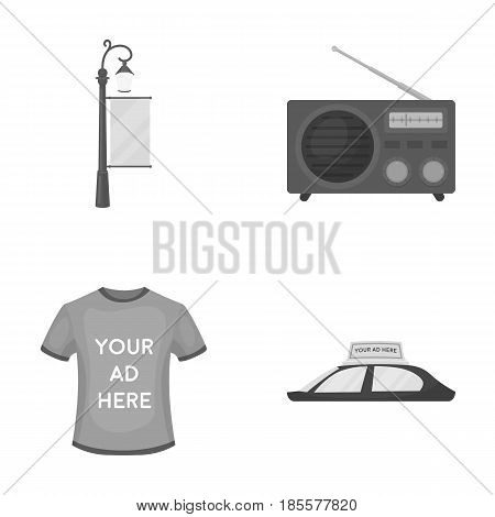A lamppost with a sign, a T-shirt with an inscription, a radio, a car roof.Advertising, set collection icons in monochrome style vector symbol stock illustration .