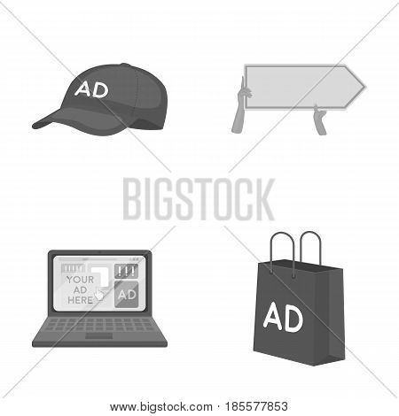 Baseball cap, pointer in hands, laptop, shopping bag.Advertising, set collection icons in monochrome style vector symbol stock illustration .