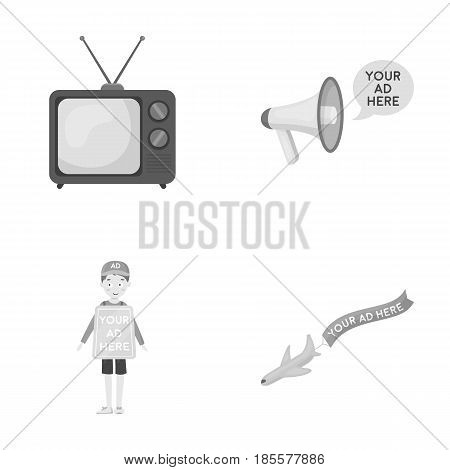 TV, megaphone, a man with a poster, an airplane with a banner.Advertising, set collection icons in monochrome style vector symbol stock illustration .