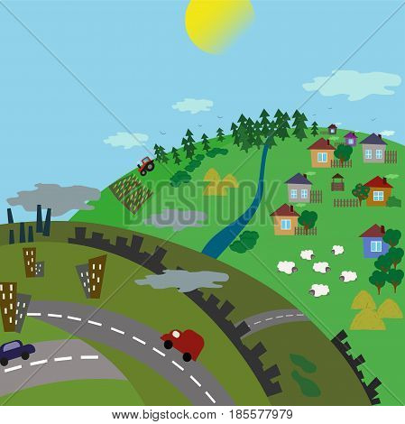 Urban and village landscape. Road from the city to the countryside. Ecology, environmental protection Freedom from urban life. Vector available