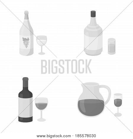 White wine, red wine, gin, sangria.Alcohol set collection icons in monochrome style vector symbol stock illustration .
