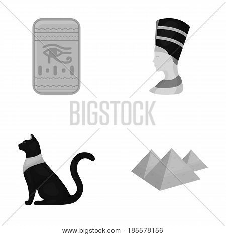 Eye of Horus, black Egyptian cat, pyramids, head of Nefertiti.Ancient Egypt set collection icons in monochrome style vector symbol stock illustration .