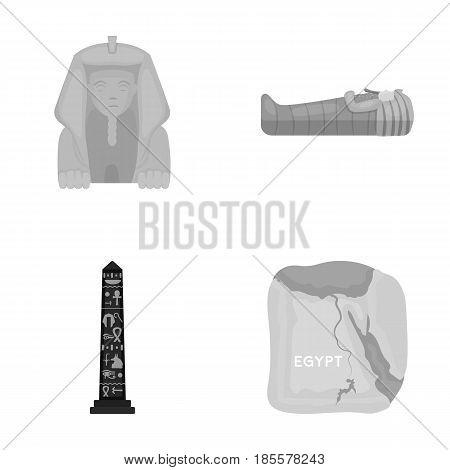 The territory of Egypt, the Sphinx, the pharaoh's sarcophagus, the Egyptian pillar with the inscription.Ancient Egypt set collection icons in monochrome style vector symbol stock illustration .