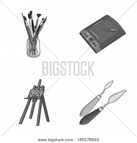 Bank with brushes, a drawing board, an easel with a canvas, paint knives.Artist and drawing set collection icons in monochrome style vector symbol stock illustration .