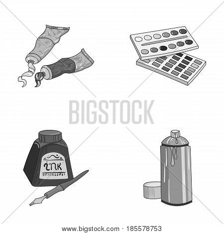Balonchik paints, tubes with paint, watercolor in a box, ink in a bottle and a pen.Artist and drawing set collection icons in monochrome style vector symbol stock illustration .