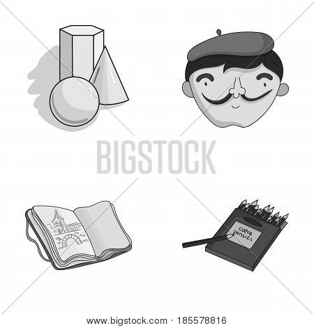 Geometric still life, a self-portrait of the artist, a notebook with drawings, a box of colored pencils.Artist and drawing set collection icons in monochrome style vector symbol stock illustration .