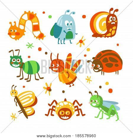 Cartoon funny insects and bugs set. Colorful collection of cute insect Illustrations isolated on white background