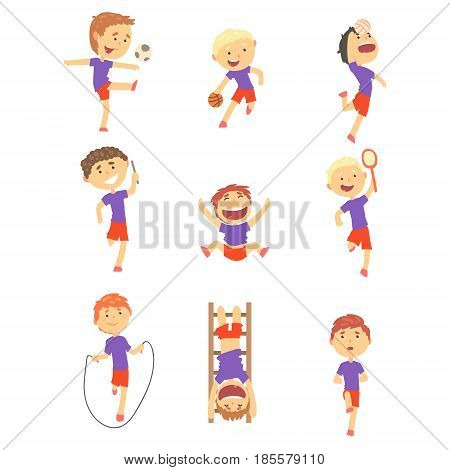 Cute happy boys doing sports set. Activity kids playing colorful cartoon Illustrations isolated on white background