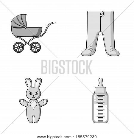 Stroller, bottle with a pacifier, toy, sliders.Baby born set collection icons in monochrome style vector symbol stock illustration .