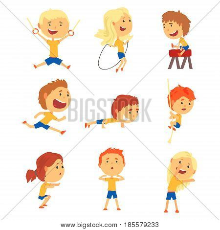 Cute smiling kids doing sports set. Activity kids playing cartoon colorful cartoon Illustrations isolated on white background