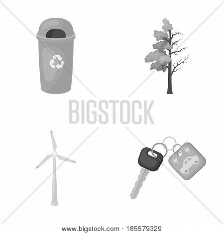 A garbage can, a diseased tree, a wind turbine, a key to a bio car.Bio and ecology set collection icons in monochrome style vector symbol stock illustration .