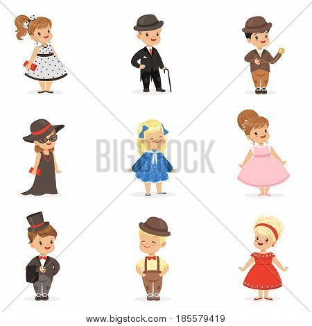 Cute children in elegant clothes for official social events. Kids in historical costumes cartoon colorful Illustrations isolated on white background
