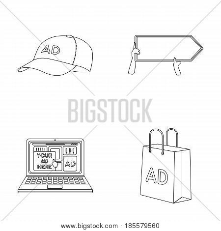 Baseball cap, pointer in hands, laptop, shopping bag.Advertising, set collection icons in outline style vector symbol stock illustration .