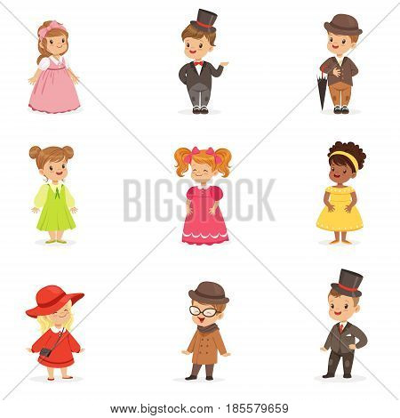Cute children in elegant festive clothes. Kids in retro costumes cartoon colorful Illustrations isolated on white background