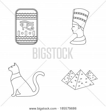 Eye of Horus, black Egyptian cat, pyramids, head of Nefertiti.Ancient Egypt set collection icons in outline style vector symbol stock illustration .