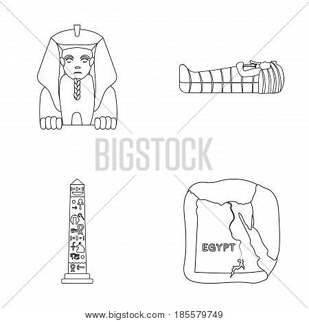 The territory of Egypt, the Sphinx, the pharaoh's sarcophagus, the Egyptian pillar with the inscription.Ancient Egypt set collection icons in outline style vector symbol stock illustration .