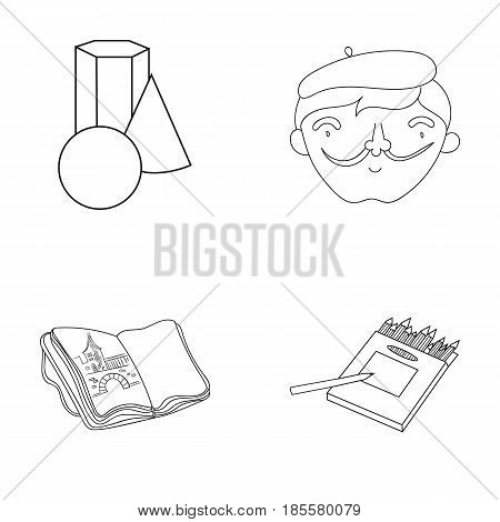 Geometric still life, a self-portrait of the artist, a notebook with drawings, a box of colored pencils.Artist and drawing set collection icons in outline style vector symbol stock illustration .