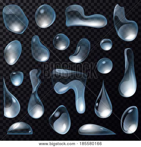 Set of isolated water drops on transparent background. Aqua droplet and clean liquid bubbles or condensation drip, dark H2O and wet translucent raindrop with reflection. Fluid, wetness design elements