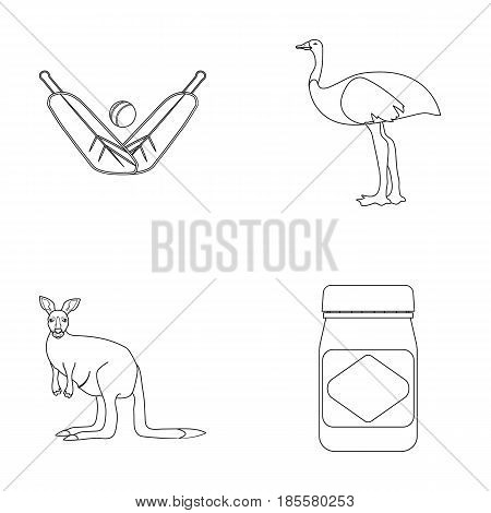 A game of cricket, an emu ostrich, a kangaroo, a popular food.Australia set collection icons in outline style vector symbol stock illustration .