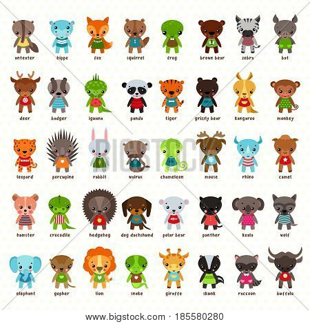 Set of cartoon animals. Anteater and hippo, fox and squirrel, frog and bear, zebra and deer, badger and iguana lizard, tiger and panda, moose and rhino, camel and bat bird, kangaroo, monkey. Zoo icons