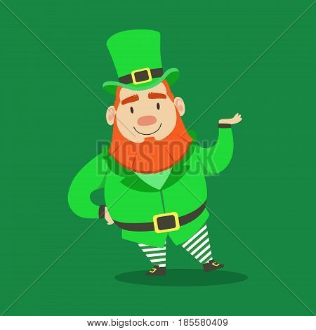 Cute cartoon dwarf Leprechaun. Saint Patricks Day colorful character vector Illustration