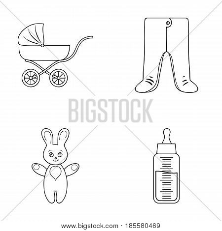 Stroller, bottle with a pacifier, toy, sliders.Baby born set collection icons in outline style vector symbol stock illustration .
