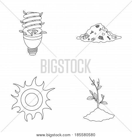 An ecological lamp, the sun, a garbage dump, a sprout from the earth.Bio and ecology set collection icons in outline style vector symbol stock illustration .