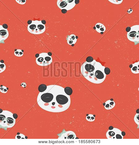 Vector seamless pattern: panda bear faces on a grunge red background, panda with different emotions. Great for textile, fabric, cloth prints, wallpapers or wrapping template.