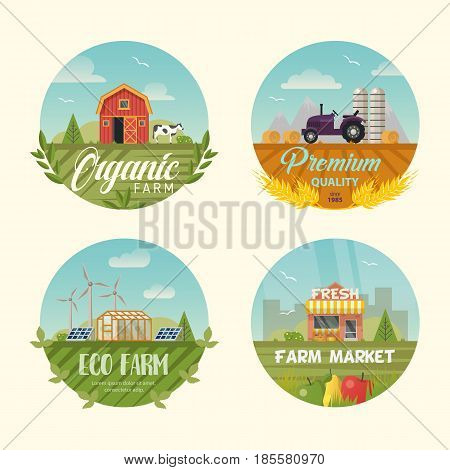 Set of farm icons or logo with barn and cow animal, tractor and wind turbine, solar panels and eco shop or ecology store or market. Rural countryside logotype isolated. Cartoon village, farming theme