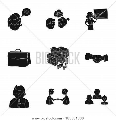A set of pictures about the transaction, work, office. Office center, analytics.Business conference and negotiations icon in set collection on black style vector symbol stock .