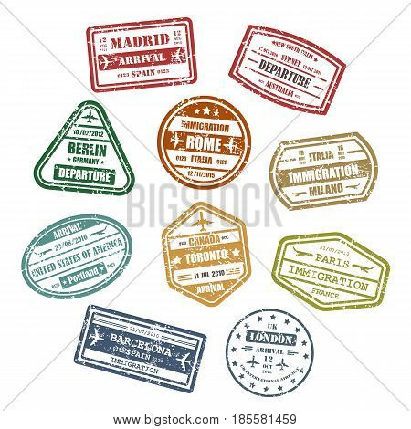 Visa stamps or passport signs for travel to madrid or barcelona in Spain, rome or milano in Italy, Portland in USA