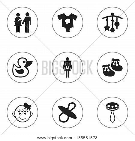 Set Of 9 Editable Kid Icons. Includes Symbols Such As Lineage, Rattle, Cheerful Child And More. Can Be Used For Web, Mobile, UI And Infographic Design.