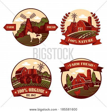 Set of isolated village or agriculture icons or badges, logo or logotypes with cow and mill on hill, meadow with farm and tractor in garden, chicken on field.Cartoon rural banner and countryside theme