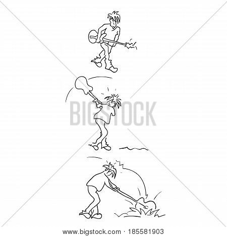 black and white drawing of an angry man smashing a guitar