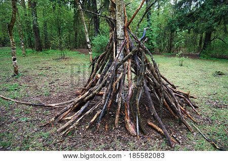 A hut of twigs in the forest. Nature, survival, the laws of life