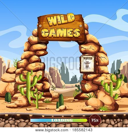 Loading or start screen for wild west game with cactus and mountain cliffs, wooden sign. Load percentages on screen, desert background, ui or ux panel for gui, web application template. Moblie games