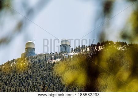 Spring Day snow on the slopes of Grosser Arber Bavaria Germany. Summit of Grosser Arber in Bayerischer Wald in Germany