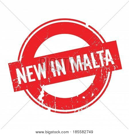 New In Malta rubber stamp. Grunge design with dust scratches. Effects can be easily removed for a clean, crisp look. Color is easily changed.