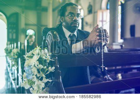 Adult Man Pray Cross Church Faith Religion